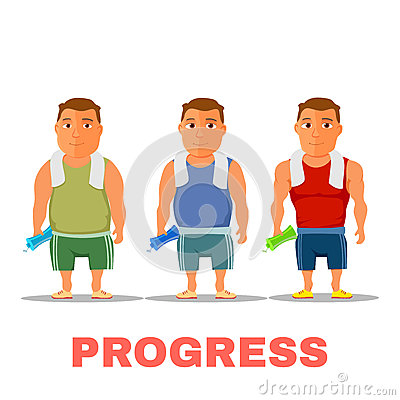 Free Cartoon Guy Fit Progress, After Work Out, With Towel And Water Bottle. Vector Royalty Free Stock Images - 85616439