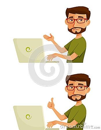 Free Cartoon Guy With Laptop Stock Image - 50885281