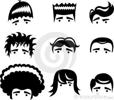 Stock Image: Cartoon hair styles