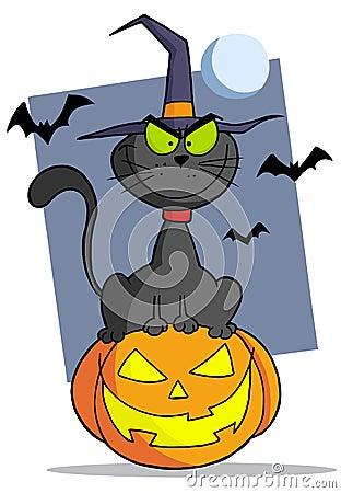 Cartoon halloween cat on pumpkin