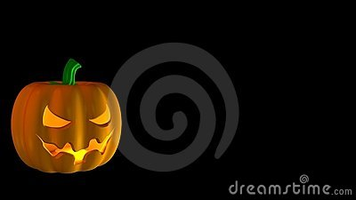 Cartoon Halloween pumpkin on black