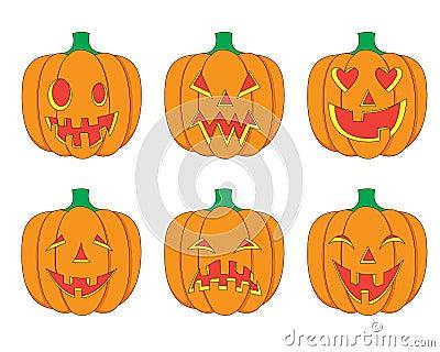 Cartoon Halloween Pumpkins Set