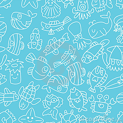 Cartoon hand draw fish seamless pattern