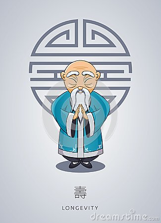 Free Cartoon Hand Drawn Asian Gray-haired Wise Old Man In National Cl Stock Photo - 106632310