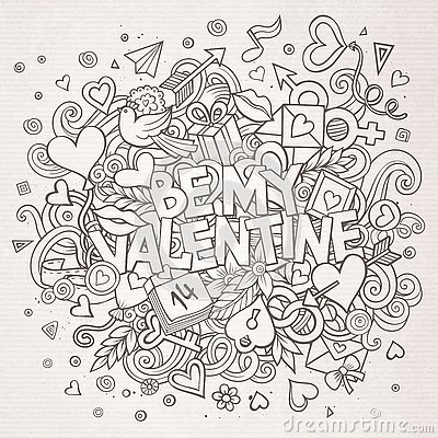 Free Cartoon  Hand Drawn Doodle Be My Valentine Royalty Free Stock Photography - 84649497