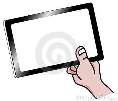 Cartoon Hand Holding a Tablet PC Illustration