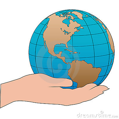 Cartoon hand holds a western hemisphere globe
