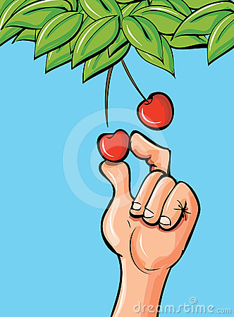Cartoon hand picking a cherry