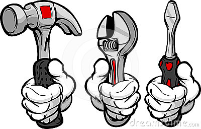 Cartoon Hands Holding Tools