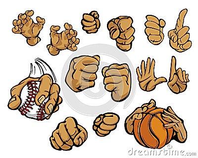 Cartoon hands in a variety of gestures