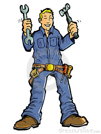 Cartoon of a handy man with all his tools.