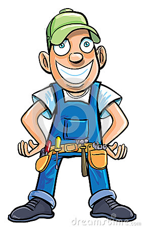 Cartoon handyman with tools.