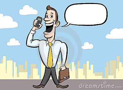 Cartoon happy businessman with mobile phone