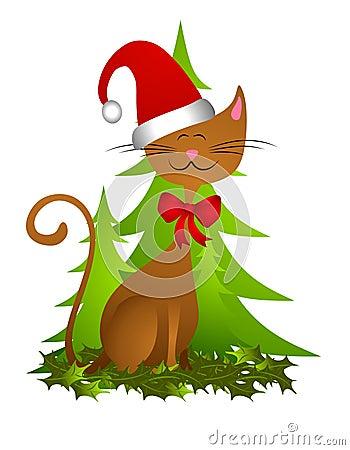 Cartoon Happy Christmas Cat