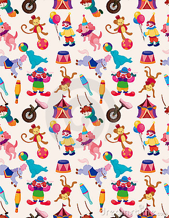 Cartoon happy circus seamless pattern