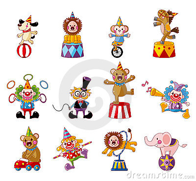 Free Cartoon Happy Circus Show Icons Collection Royalty Free Stock Photography - 20973917