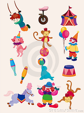 Free Cartoon Happy Circus Show Icons Collection Stock Photography - 20986722