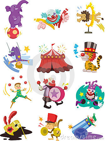 Free Cartoon Happy Circus Show Icons Collection Stock Photo - 23722390