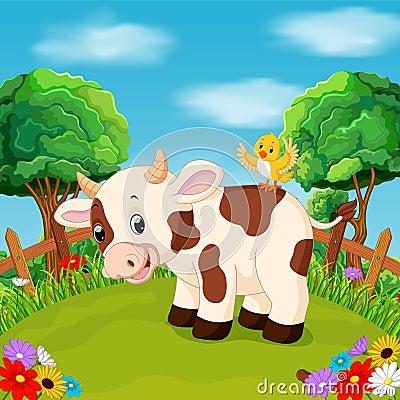 Free Cartoon Happy Cow Smile In The Farm Royalty Free Stock Photo - 103845675
