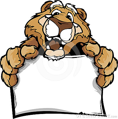 Cartoon of a Happy Cute Cougar Mascot Holding Sign