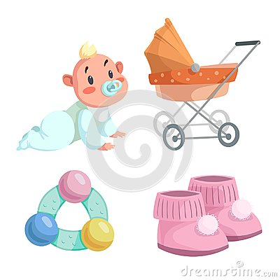 Free Cartoon Happy Infancy Set. Baby Boy With Dummy Crawl, Orange Bed Pram, Circle Rattle With Colorful Balls And Baby Booties. Royalty Free Stock Photo - 104879255