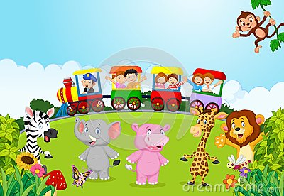 Cartoon Happy kids on a colorful train with animal Vector Illustration