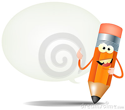 Cartoon Happy Pencil Character