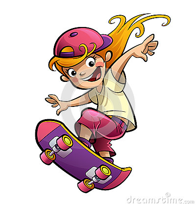 Cartoon happy smiling kid girl with skateboard in sport mood