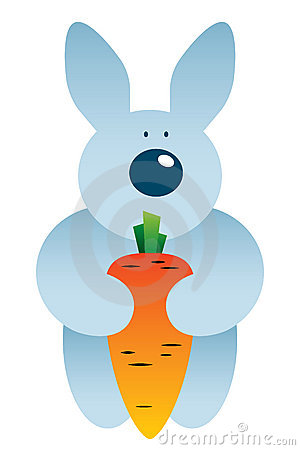 Cartoon hare and carrot