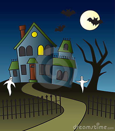 Cartoon Haunted House Scene