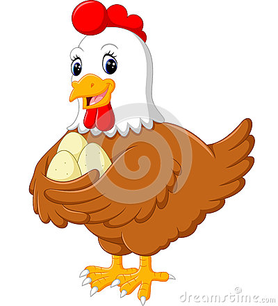 Free Cartoon Hen And Her Eggs Stock Photo - 75014460