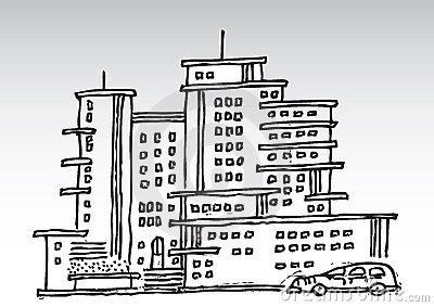 Cartoon high rise buildings