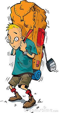Cartoon of hiker with heavy backpack