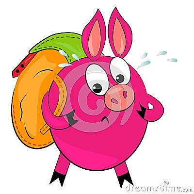 Cartoon hiking animal  illustration.cute pig