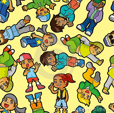 Cartoon hip hop boy dancing  seamless pattern