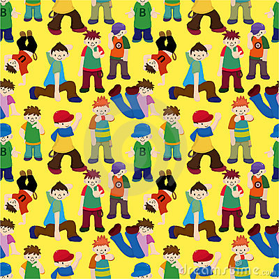 Free Cartoon Hip Hop Boy Dancing Seamless Pattern Royalty Free Stock Photo - 20635135