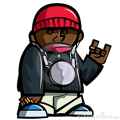 Cartoon hip hop man with bling