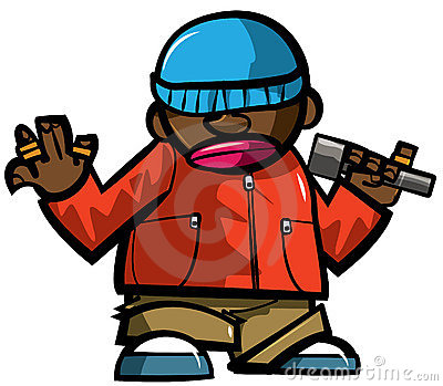 Cartoon hip hop man with microphone.