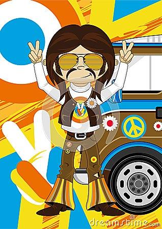 Cartoon Hippie with Camper Van Vector Illustration