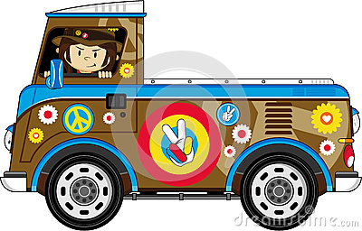 Cartoon Hippie and Camper Van Vector Illustration