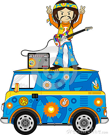 Cartoon Hippie with Camper Van Vector Illustration