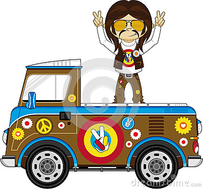Cartoon Hippie Camper Van Vector Illustration