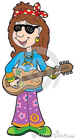 Cartoon Hippie Musicia...
