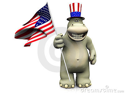 Cartoon hippo celebrating 4th of July.