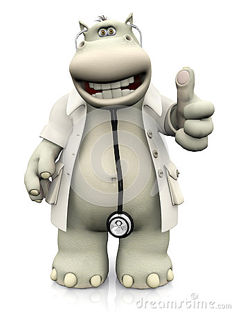 Free Cartoon Hippo Doctor Doing A Thumbs Up. Royalty Free Stock Image - 67516246