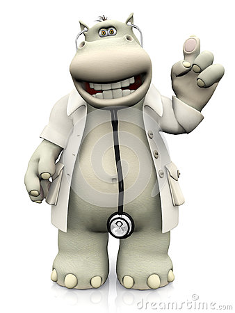 Free Cartoon Hippo Doctor Holding Up His Finger. Stock Photos - 67516223