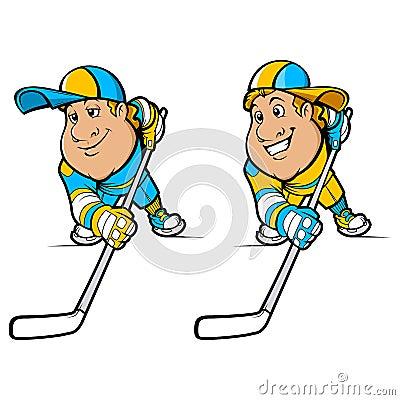 Cartoon Hockey Players Set
