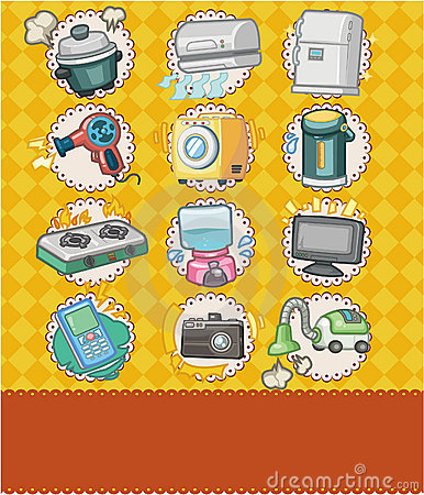 Cartoon home appliance seamless pattern