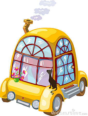 Cartoon home on wheels with flowers and black cat