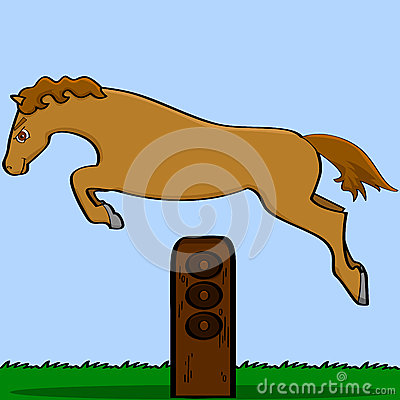 Cartoon horse jumping over an obstacle